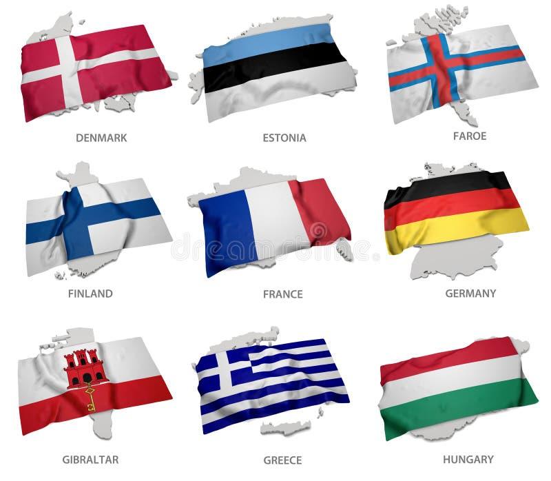 Une collection des drapeaux couvrant la correspondance forme de quelques états européens illustration libre de droits