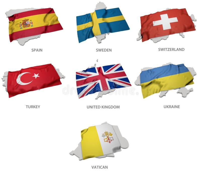 Une collection des drapeaux couvrant la correspondance forme de quelques états européens illustration stock