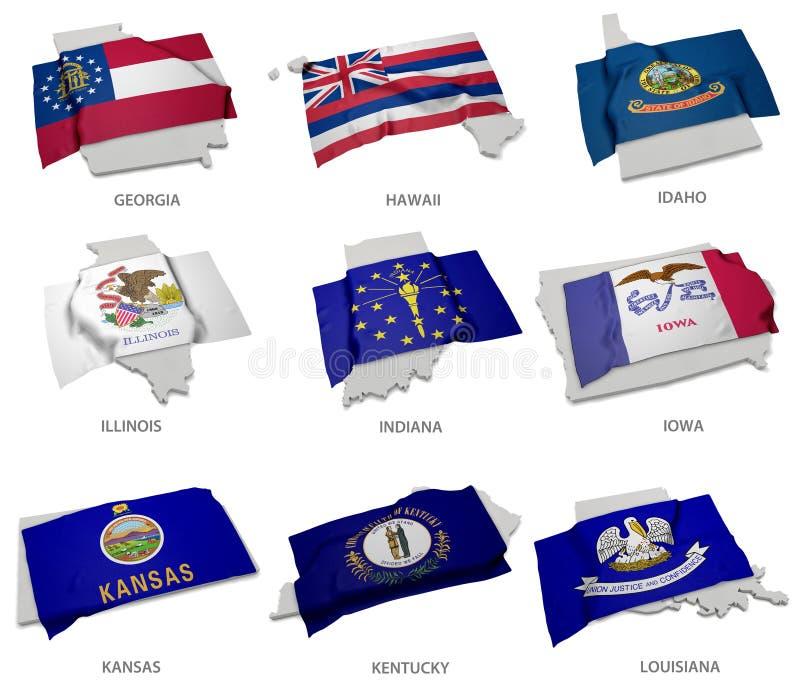 Une collection des drapeaux couvrant la correspondance forme des quelques Etats-Unis illustration stock
