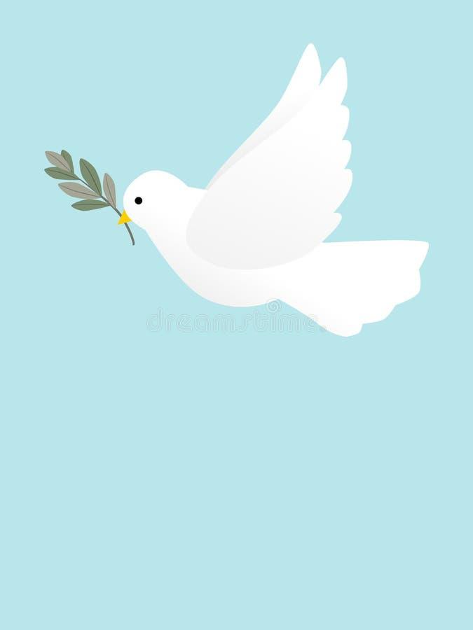 Une colombe volante de paix avec Olive Branch illustration stock