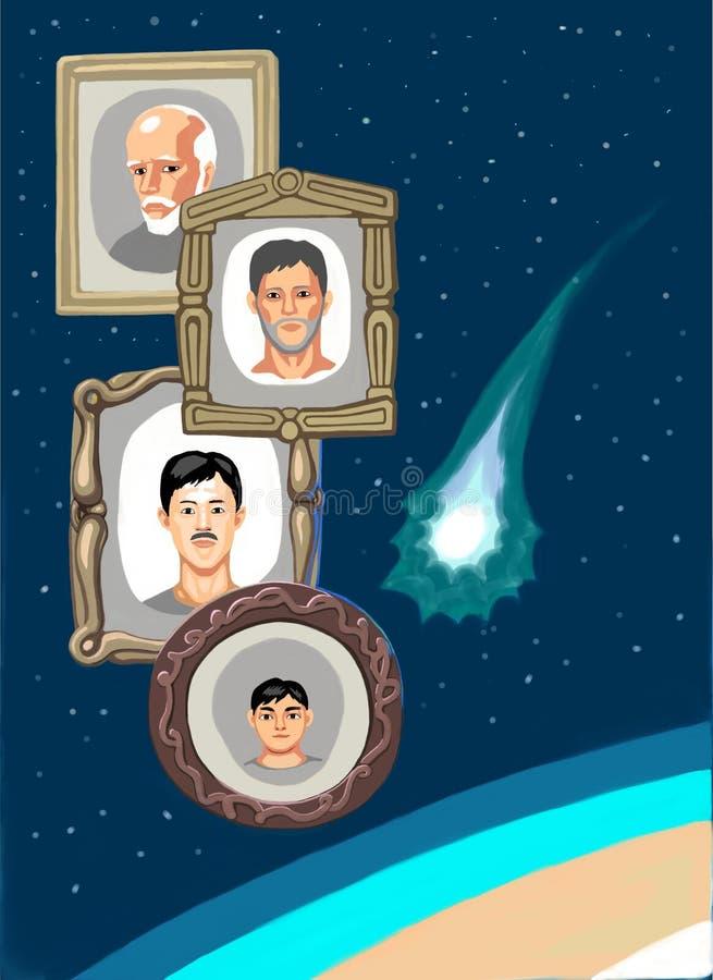 Une comète de vol et quelques portraits dans l'espace près de la terre illustration stock