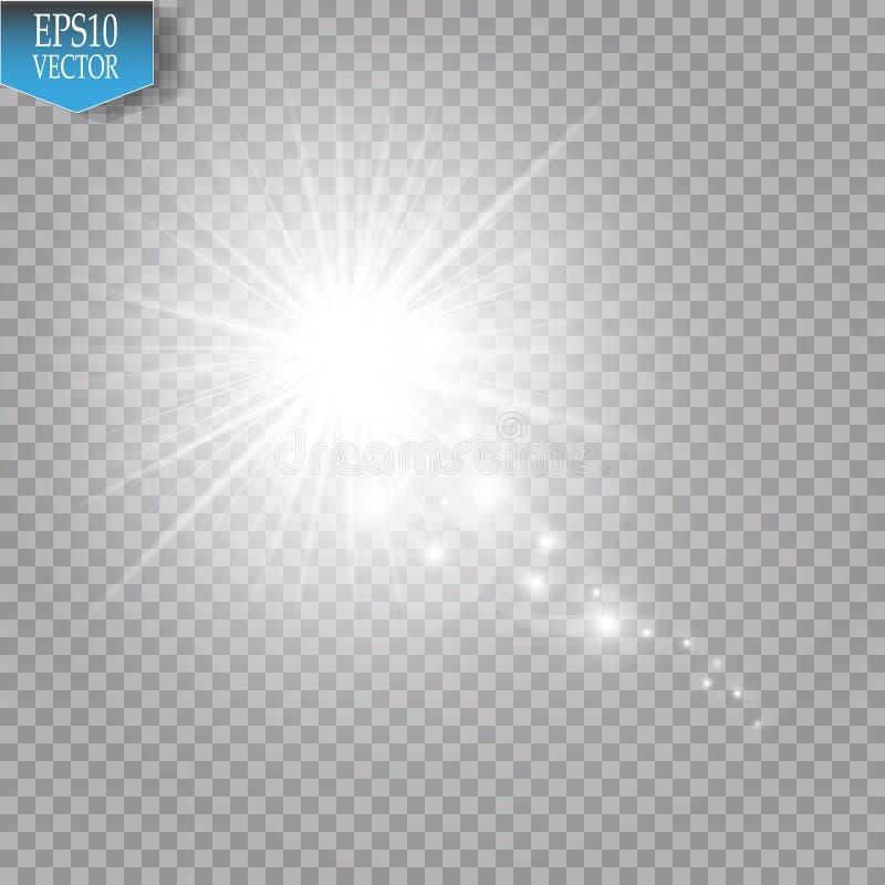 Une comète lumineuse avec la grande étoile filante de la poussière Effet de la lumière de lueur Lumières blanches illustration de vecteur