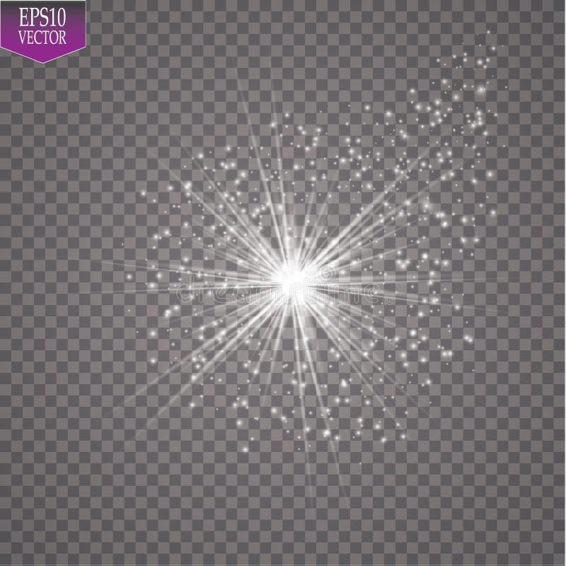 Une comète lumineuse avec la grande étoile filante de la poussière Effet de la lumière de lueur Illustration de vecteur illustration libre de droits