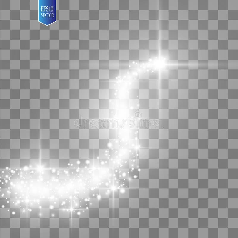 Une comète lumineuse avec la grande étoile filante de la poussière Effet de la lumière de lueur Lumières d'or Illustration de vec illustration de vecteur