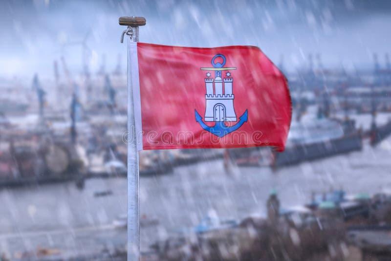 Une composition de pluie de l'Allemagne de drapeau de ville de Hambourg photo stock