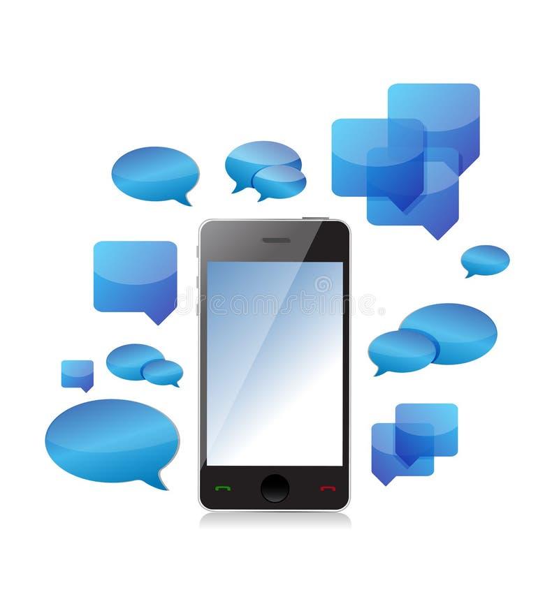 Une conception d'illustration de concept de causerie de téléphone portable illustration stock