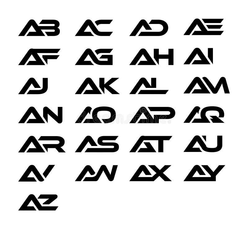 Une conception de logo et d'icône de combinaison de lettre comprenant ab, C.A., ANNONCE, EA, AF, AG, OH, AI, AJ, AK, AL, AM, ao,  photo libre de droits