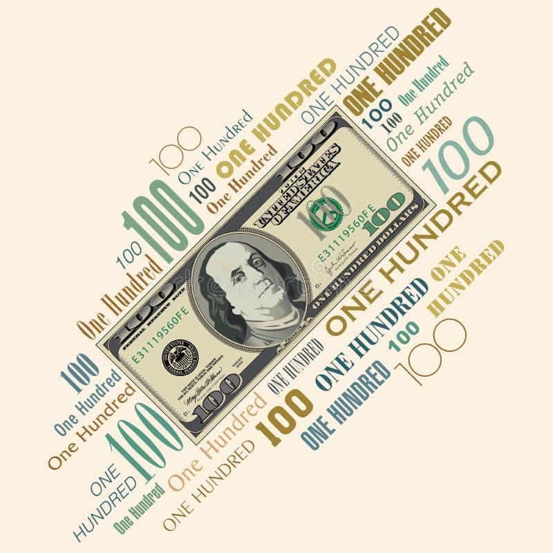 Une conception typographique de billet d'un dollar 100 illustration de vecteur