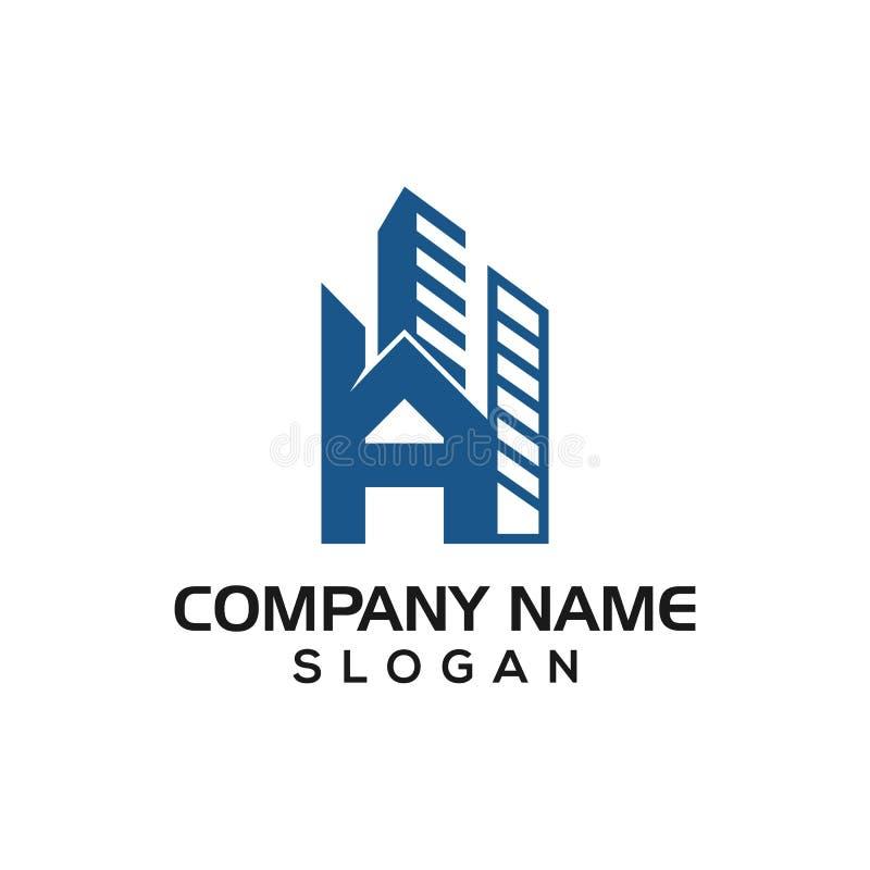 Une construction de bâtiments, un A initial avec le concept de construction en tant que calibre d'icône de logo pour l'entreprise illustration stock