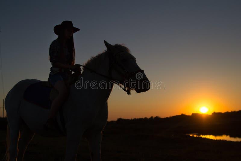 Une cow-girl montant un cheval sur un ranch se silhouette contre le soleil d'après-midi photos libres de droits