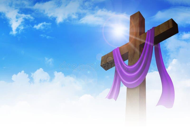 Une croix avec la ceinture pourpre sur le fond de nuages photographie stock libre de droits