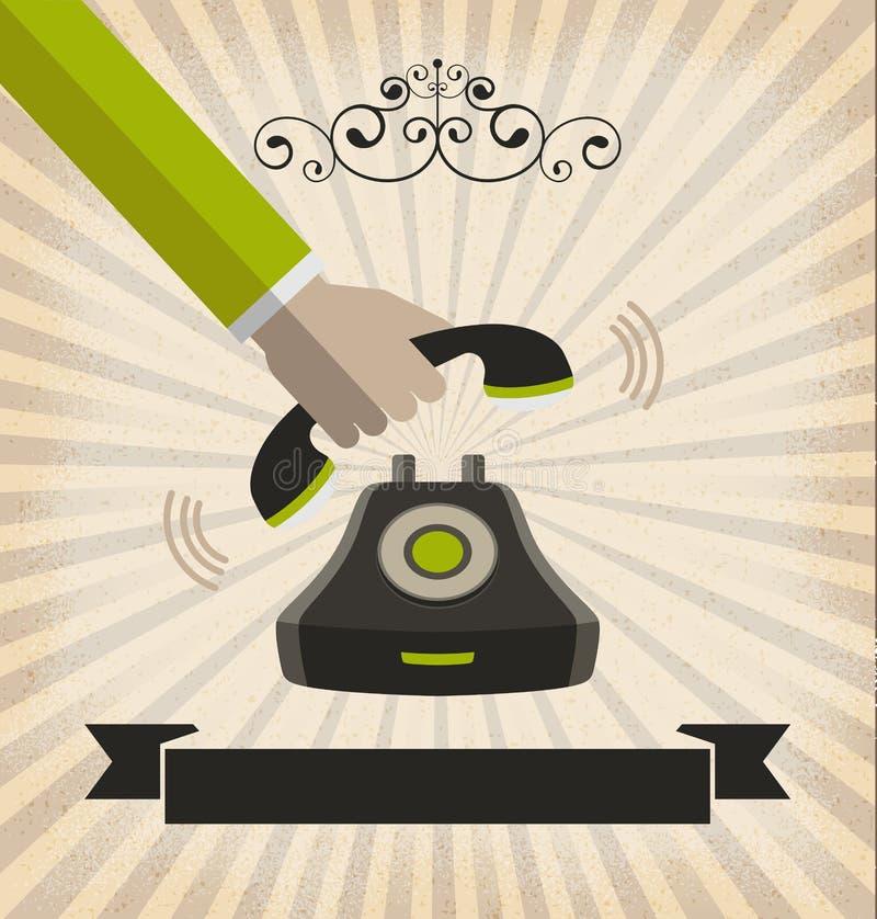 Une cueillette à la main vers le haut d'un téléphone avec le rétro style illustration stock