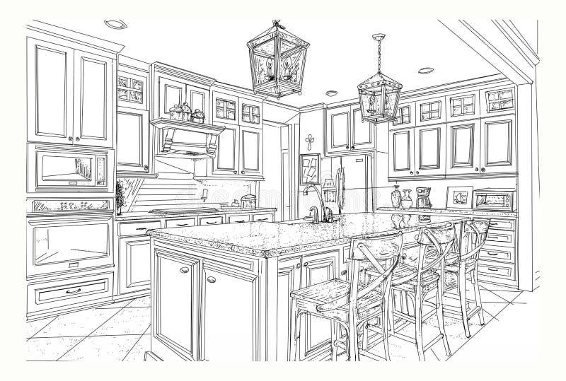 Une cuisine a fourni avec une table d'?le illustration de vecteur