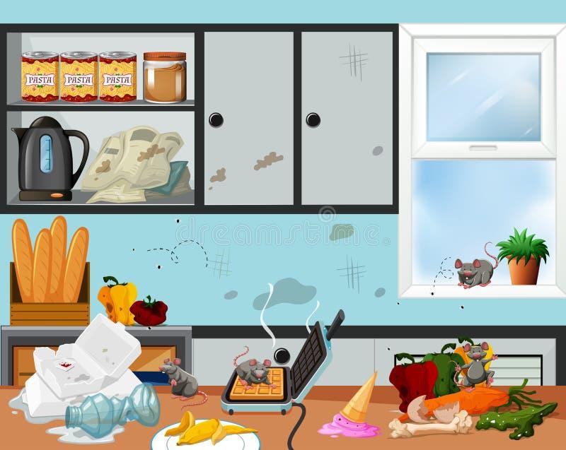 Une cuisine malpropre et antihygiénique illustration de vecteur