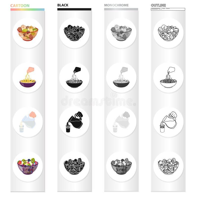 Une cuvette avec de divers genres d'écrous, salade de fruits de nourriture pâtes, cruche et un verre de lait Collection réglée de illustration de vecteur