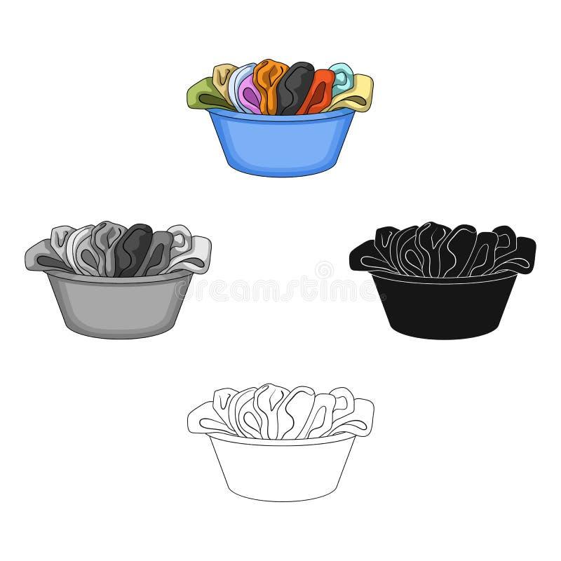 Une cuvette avec la blanchisserie sale Icône simple de cleanin sec dans la bande dessinée, Web noir d'illustration d'actions de s illustration de vecteur
