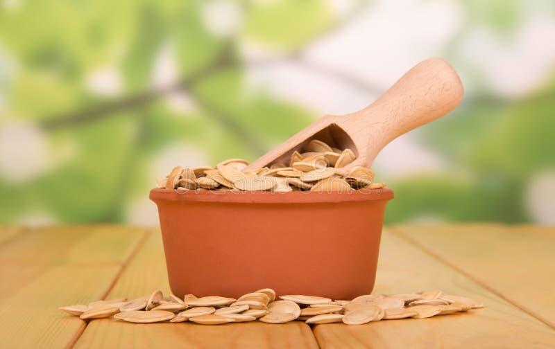 Une cuvette avec les graines de citrouille et le scoop en bois, graines près sur un ABS photo libre de droits