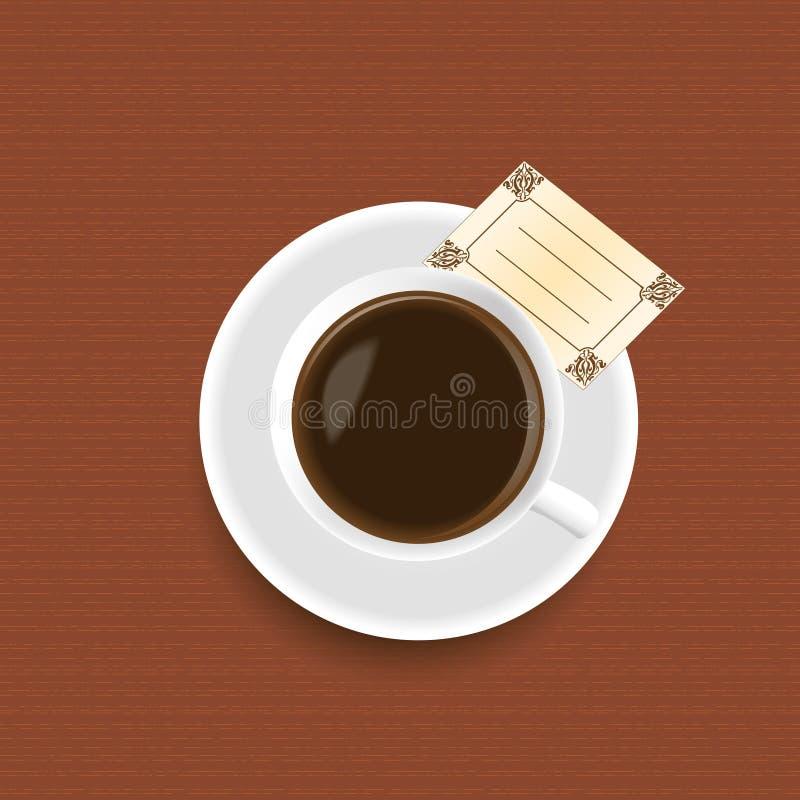 Une cuvette de café avec une carte illustration de vecteur