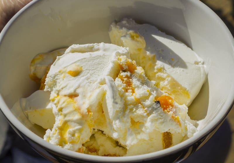 Une cuvette de crème glacée avec la saveur de passiflore comestible de passiflore, Auckland Nouvelle-Zélande image stock