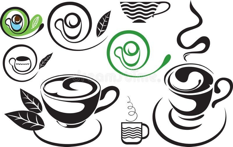 Une cuvette de thé. Signe. Le noir et blanc stylisé illustration libre de droits