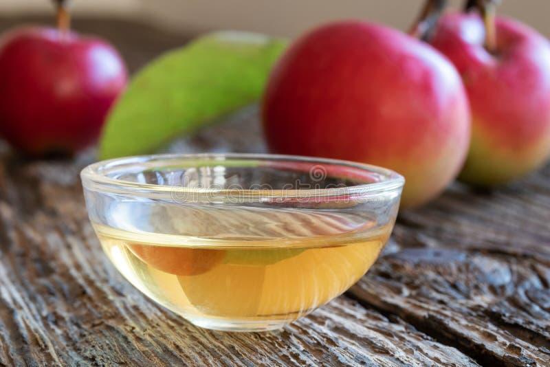 Une cuvette de vinaigre de cidre de pomme avec des pommes image stock