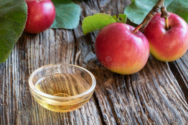 Une cuvette de vinaigre de cidre de pomme avec les pommes fraîches photographie stock