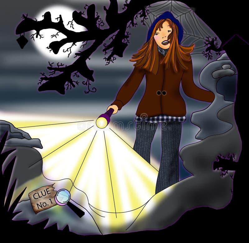 Une détective Teenaged de fille découvre un indice neuf ! illustration stock