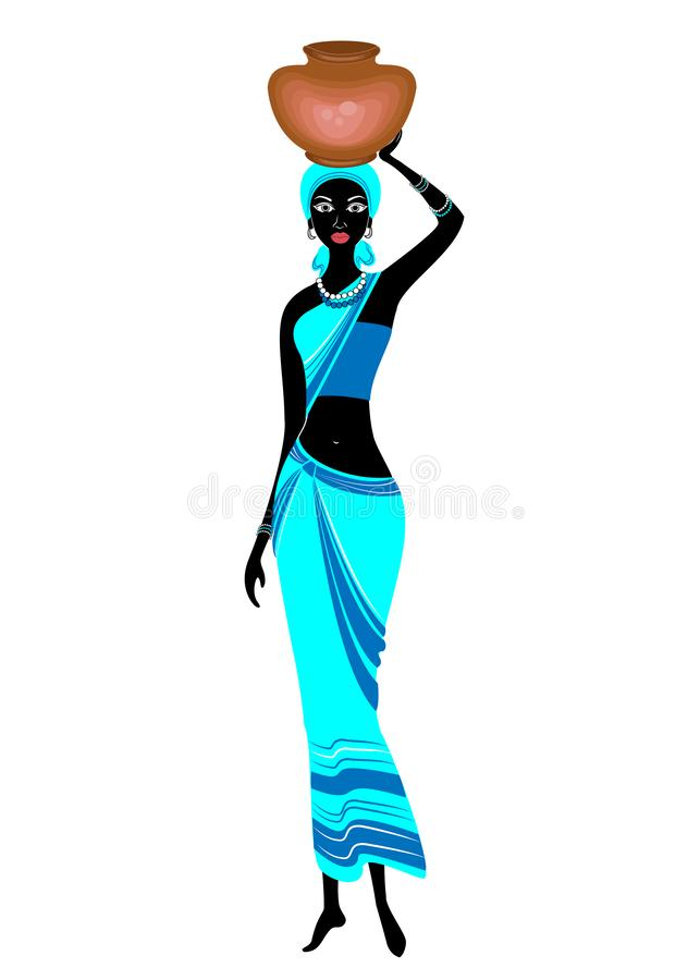 Une dame afro-am?ricaine mince La fille porte une cruche sur sa tête La femme est belle et jeune Illustration de vecteur illustration libre de droits