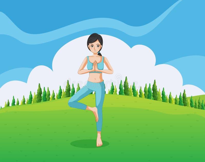 Une dame mince faisant le yoga à la colline illustration libre de droits