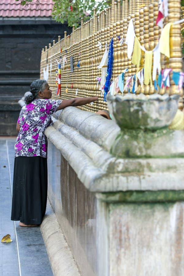 Une dame se tient à côté de l'arbre sacré de bodhi au temple de Kataragama dans Sri Lanka du sud photographie stock libre de droits