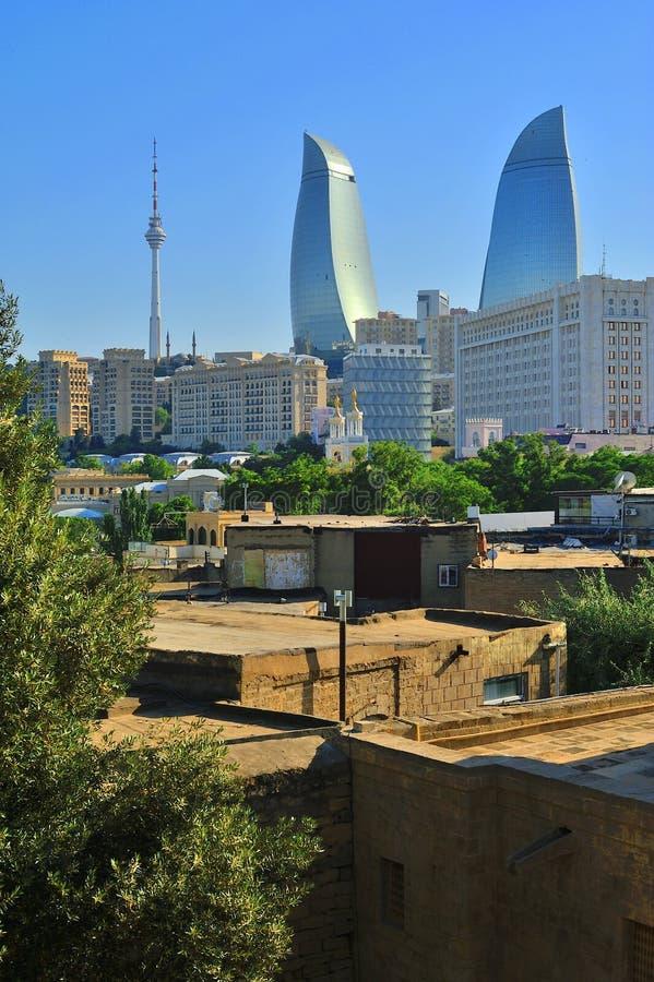 Une des perspectives de la ville de Bakou l'azerbaïdjan photo stock