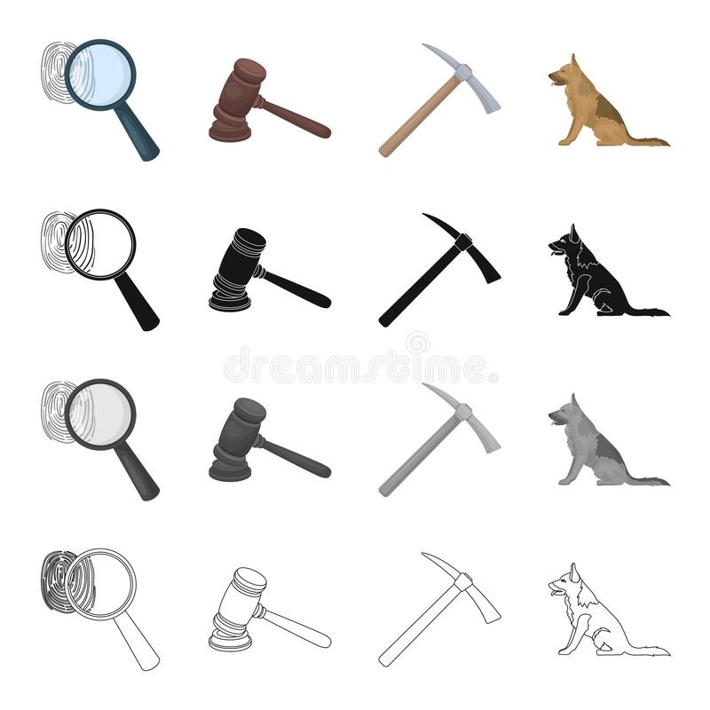 Une empreinte digitale, un marteau du juge s, une pioche, un chien de service Icônes réglées de collection de prison dans le mono illustration libre de droits