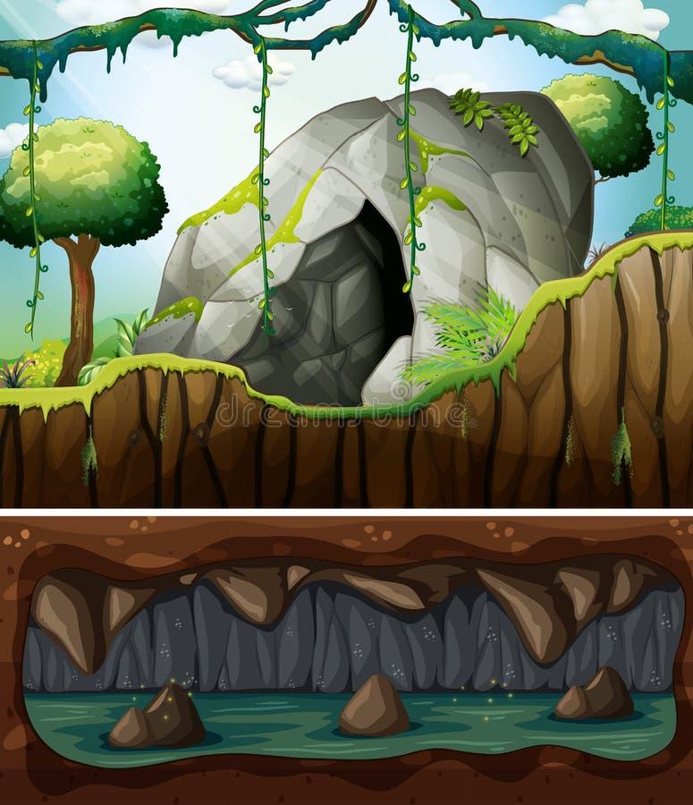 Une entrée de caverne et une scène souterraine illustration stock