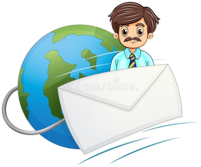 Une enveloppe devant l'homme d'affaires avec une moustache illustration stock