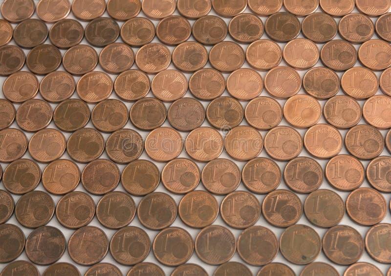 Une euro configuration de pièces de monnaie de cent photographie stock libre de droits