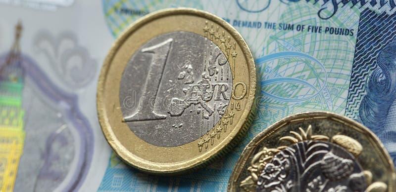 Une euro pièce de monnaie sur une note britannique de cinq livres dans un format panoramique image stock