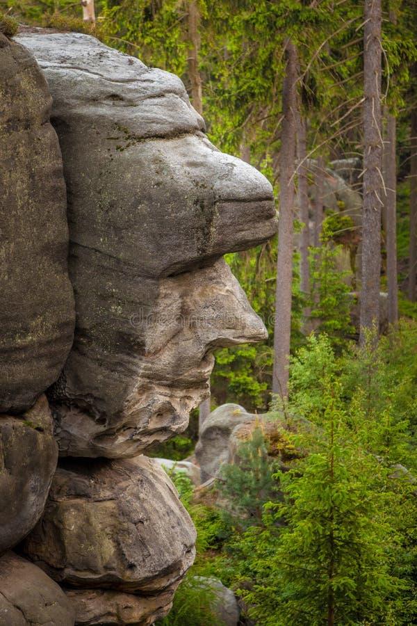 Une falaise ou une roche qui ressemblent à un visage sur la colline d'Ostas dans la République Tchèque photographie stock libre de droits