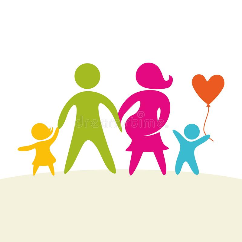 Une famille heureuse Chiffres multicolores, membres de la famille affectueux Parents : Maman et papa et enfants illustration stock