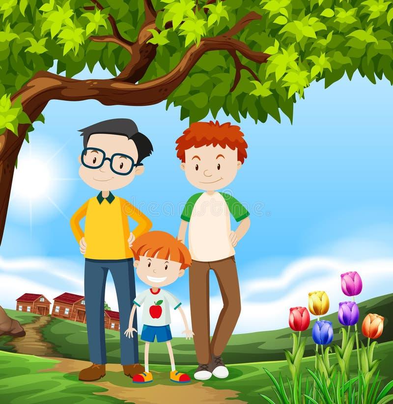 Une famille heureuse d'adoption de LGBT illustration stock