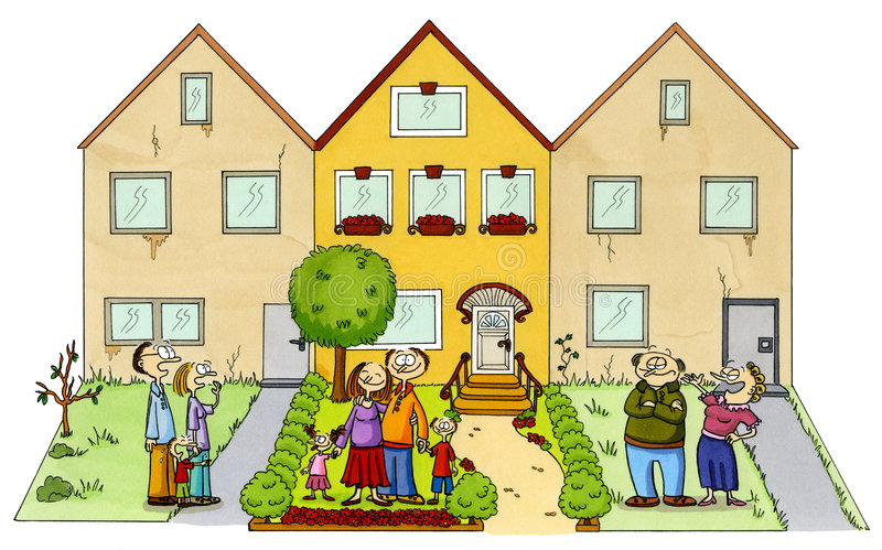 Une famille heureuse devant leur maison neuve illustration libre de droits
