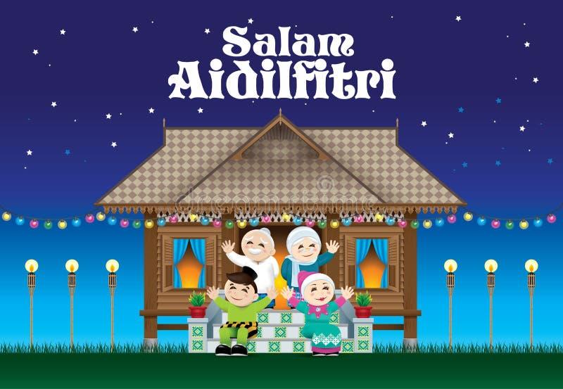 Une famille musulmane célébrant le festival de Raya dans leur maison malaise traditionnelle de style Avec la scène de village illustration de vecteur