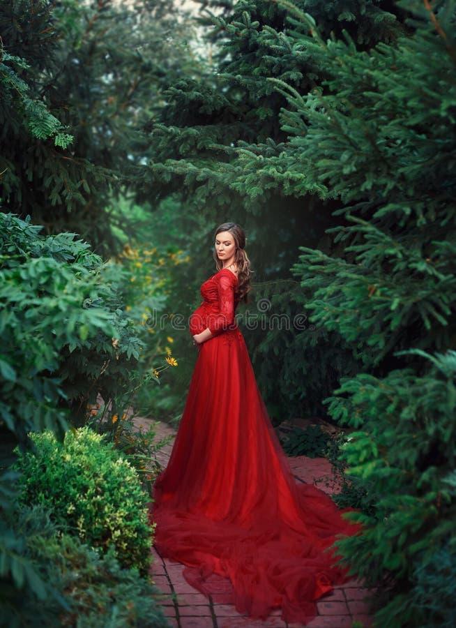 Une femme élégante et enceinte marche dans un beau jardin dans une robe rouge luxueuse et chère avec un long train artistique images libres de droits