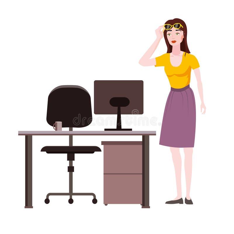 Une femme émotion surprise lève des lunettes l'expression choquée regarde l'écran portable, la chaise de table de bureau Vecteur illustration stock