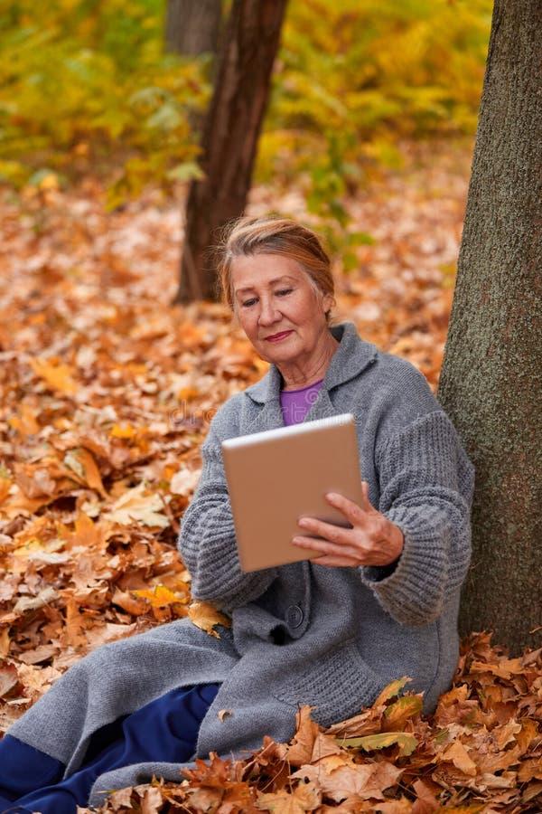 Une femme adulte avec un comprimé s'assied sous un arbre en parc d'automne photo libre de droits