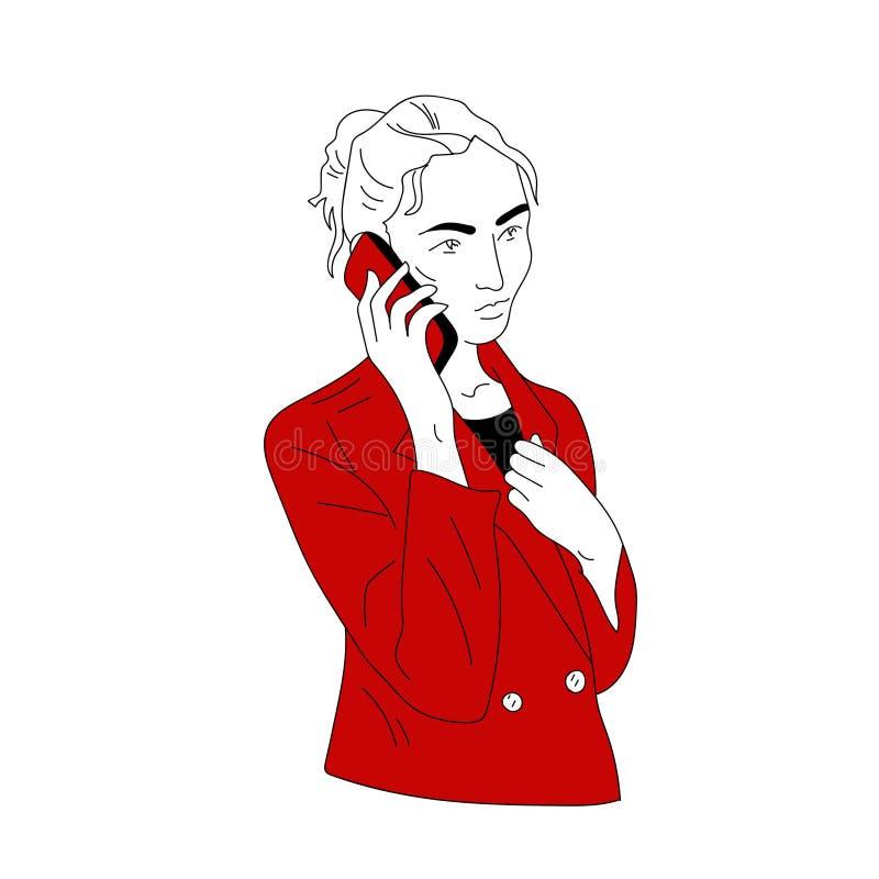 Une femme appelle, parlant au téléphone photographie stock