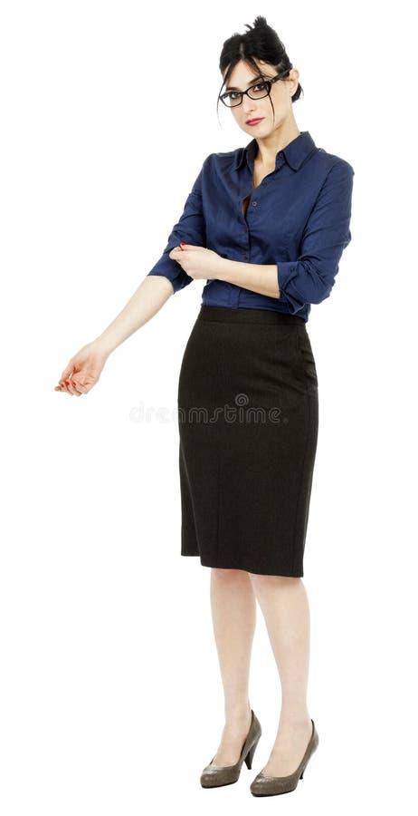 Femme d'affaires tirant sa douille photographie stock libre de droits