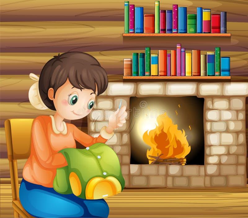 Une femme cousant près de la cheminée illustration libre de droits