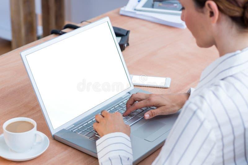 Download Une Femme D'affaires à L'aide De Son Ordinateur Portable Image stock - Image du puits, wireless: 56483707