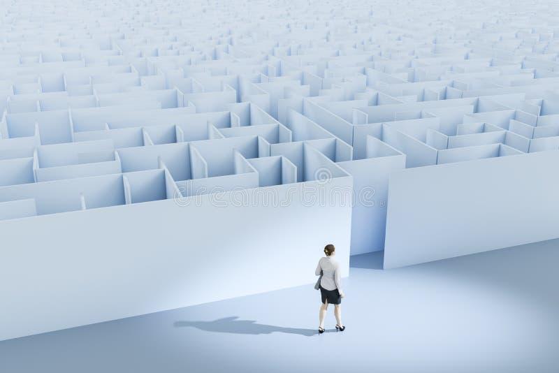 une femme d'affaires au labyrinthe illustration de vecteur