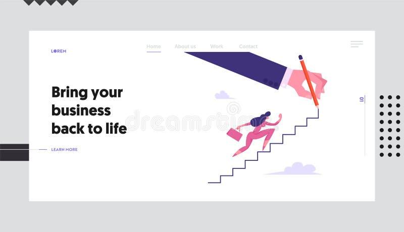 Une femme d'affaires avec une valise grimpant à l'étage du site Web Page d'accueil, réussite financière, femme d'affaires illustration libre de droits